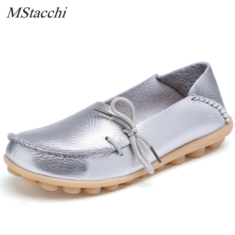 Mstacchi Women Flats Soft Genuine Leather Shoe Laces Casual Loafers Moccasins Shallow Breathable Mother Flat Shoes Large Size 44 2017 new genuine leather mother shoes soft bottom shallow mouth flats large size casual elderly shoes spring autumn women shoes