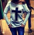 2017 new fashion women hoody moleton personality cross printed casual pullover sweatshirt rivet swag chandal mujer