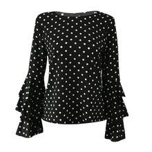 Women Polka Dot Spring Fashion O Neck Long Sleeve Blouse Casual Tops Plus Size 4XL 5XL