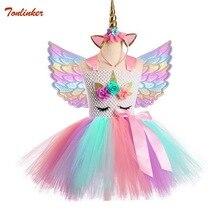 New Kids Unicorn Dress For Girls Tutu Headdress With Gold Headband Wings Princess Halloween Party 2-10 Years