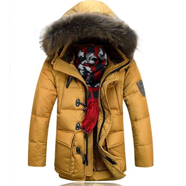 Мужчины С Капюшоном Съемный Вниз Пальто Марка Дизайн Зима Теплая Снег Толстая Длинные Вниз Парки Повседневная Тренчи F1213