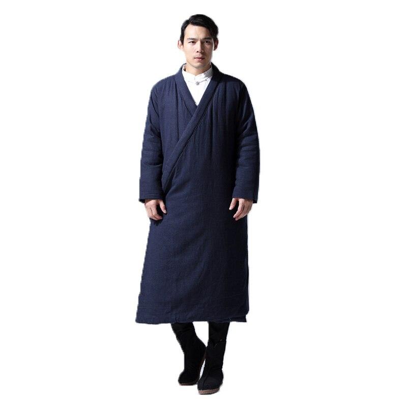 Hisenky hommes hiver Trenchcoat Style chinois Long coupe vent Hanfu Robes épais chaud manteau Vintage coton rembourré vestes 4 couleurs - 4
