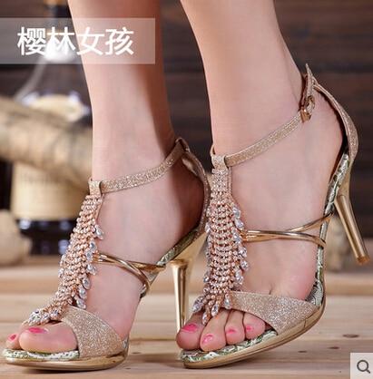 ФОТО 2016  Summer New High Heels Sandals Women Shoes Crystal Platform Fish Head Blue Gold Silver Diamond Fashion Female Shoes H7013
