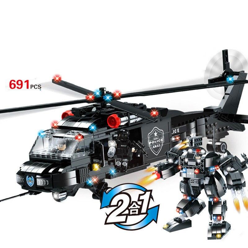 691pcs Children s educational building blocks toy Compatible city SWAT Team 2 in 1 Black Hawk