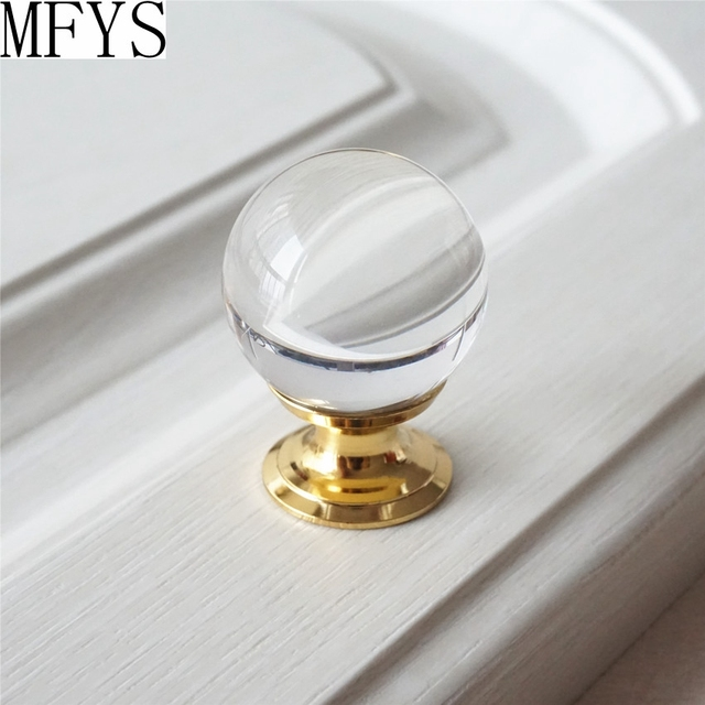 1pc glass dresser knobs drawer knobs pulls handles clear gold crystal kitchen cabinet knob handle pull - Kitchen Knob And Handles