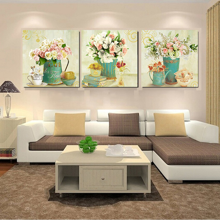 Home decor canvas prints vintage flower wall art canvas for Wall art sets for living room