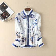 fashion woman's elegant print casual shirt 2017 summer ethnic print blouse S-XL size