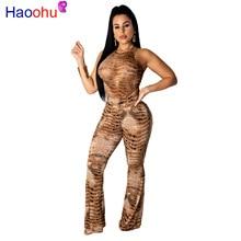 Snake Skin Print Sexy Party Jumpsuits For Women O Neck Sleeveless Bandage Long Romper Vintage High Waist Skinny Flare Bodysuit