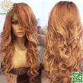 Honey Blonde Full Lace Wig Human Hair Loose Wave Virgin Brazilian Wavy Lace Front Wig With Bangs & Baby Hair Color #27