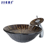 Ravine Art Style Round Bathroom Sink Tempered Glass Vessel Sink With Waterfall Faucet Classic Countertop Sinks