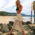 Verão Sexy hot Malha boêmio boho maxi saias longas handmade rendas de croché saia beachwear