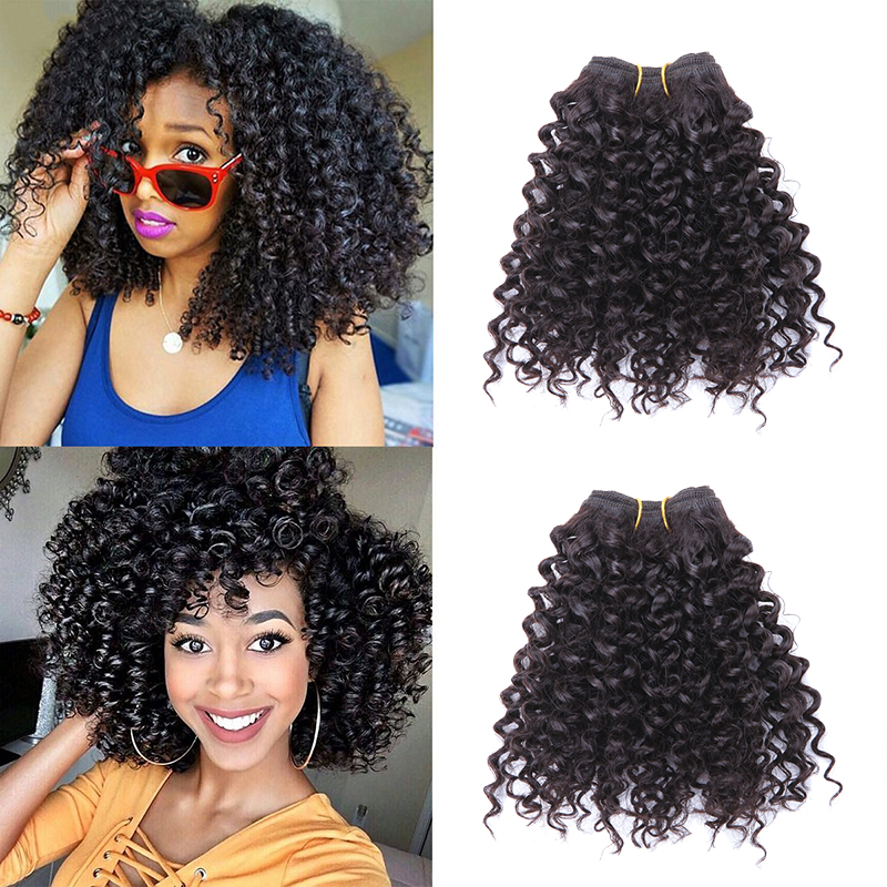 Low Cost Short Afro Kinky Curly Hair Bundles Hair Wefts 3 Bundles