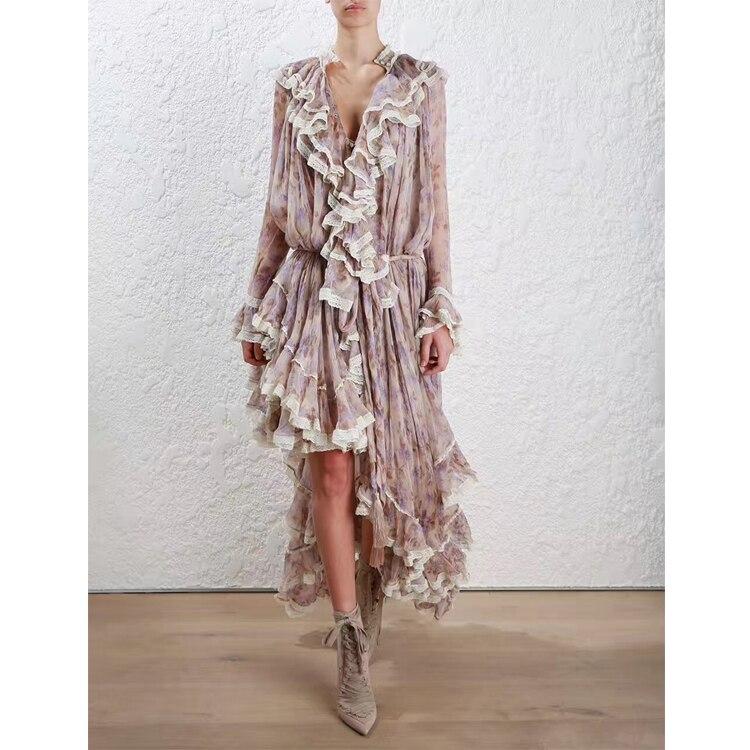 Women Long Sleeves Layered Cuffs Lavender Floral Print Asymmetrical Dress Silk Maxi Dress 2