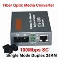 Free Shipping HTB-1100S Optical Media Converter 10/100Mbps RJ45 Single Mode Duplex Fiber SC port Converter 25KM