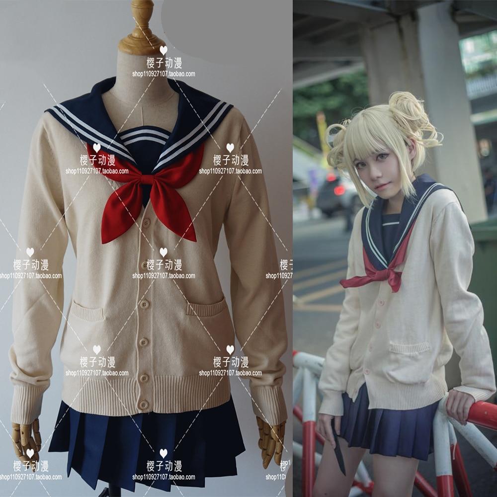 Anime My Hero Academia Boku No Hero Academia Himiko Toga JK Uniform Skirts Sweater Sweatshirts Cardigan Cosplay Costumes Suit
