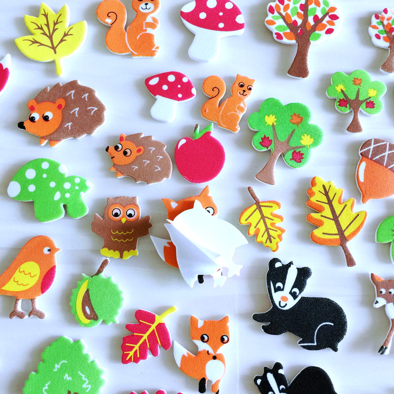 1 пакет/Партия. Осенняя уборочная белка, птица, лиса, ежик, Сова, поролоновые наклейки, Осенний лист, ремесла, элементы деятельности, украшение детской комнаты, OEM