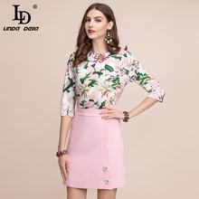 LD LINDA DELLA Fashion Summer Women's Suits Elegant lily Floral Print Tops and Flower Button Casual Mini Skirt Two Pieces Sets