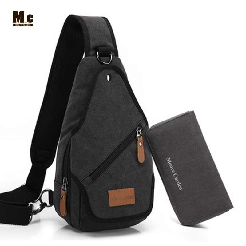 Canvas Backpack Men s Shoulder Crossbody Bag Leisure Chest Back Pack Casual  Travel Bags Retro One Strap 82e31d1dc8032