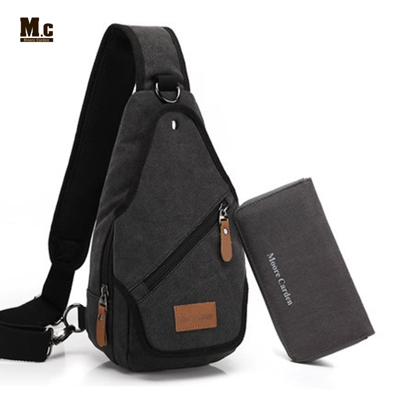 Canvas Backpack Men's Shoulder Crossbody Bag Leisure Chest Back Pack Casual Travel Bags Retro One Strap Rucksack Bolsa Masculina