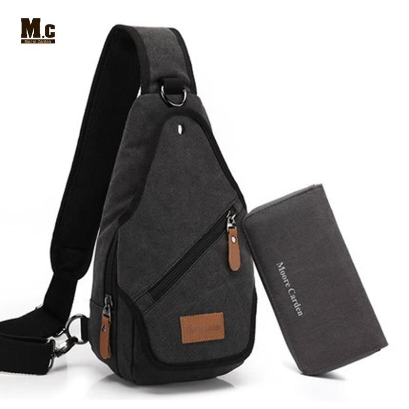 Canvas Backpack Men's Shoulder Crossbody Bag Leisure Chest Back Pack Casual Travel Bags Retro One Strap Rucksack Bolsa Masculina
