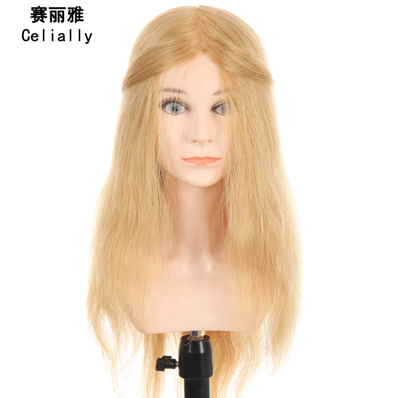20 100% Real Human Hair Training Head Hairdressing Professional Stlye Mannequin For Hairdresser Training Dummy Head With Human