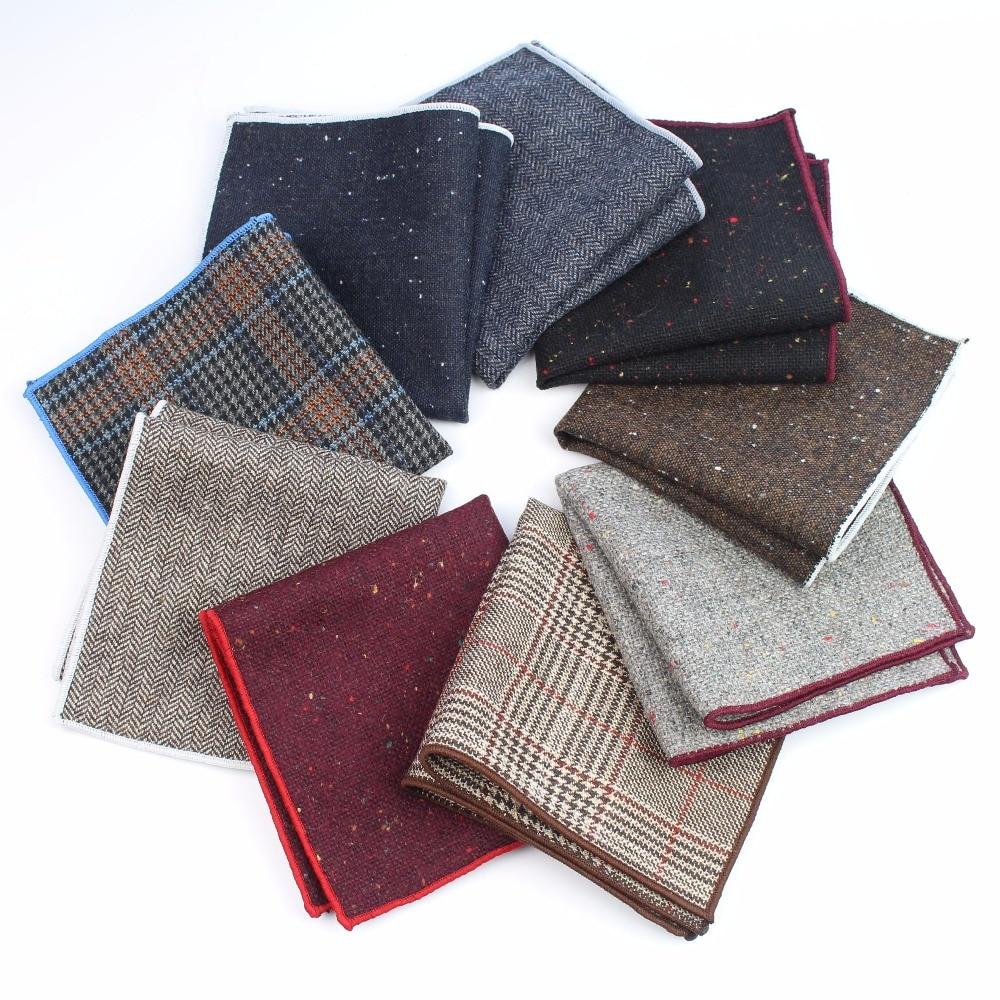 Mens Cotton Wool Formal Clothing Pocket Square Man Wedding Geometric Dot Handkerchief Dark Color