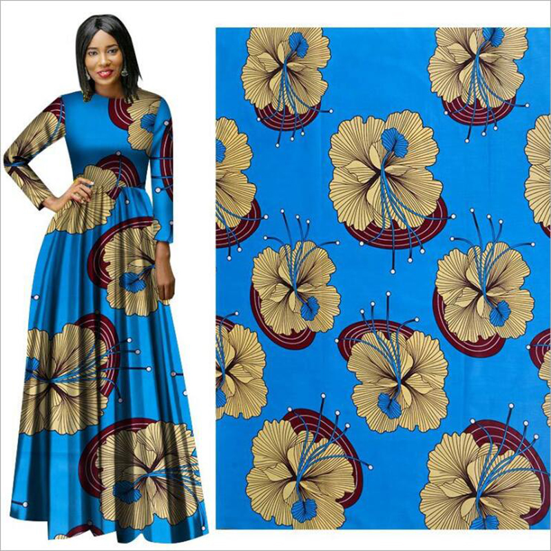 Me-dusa 2019 new blue flower African Print Wax Fabric 100% cotton Hollandais Wax Dress Suit cloth 6yards/pcs High quility(China)