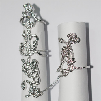Women Chic Alloy Rhinestone Shiny Crystal Floral Ring