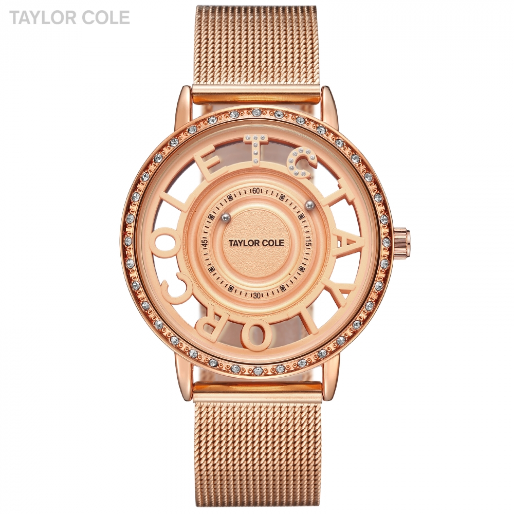 Taylor Cole Rose Golden Lady Wristwatch Women Fashion Brand Casual Quartz Stainless Band Crystal Watches Relogio Feminino /TC129 taylor cole relogio tc013