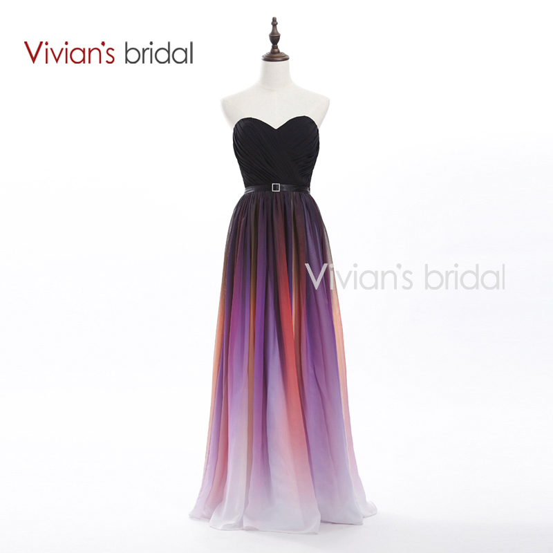 Buy Cheap Vivian's Bridal Elegant Sweetheart A-Line Colorful Long Evening Dresses 2016 New Arrival Formal Chiffon Evening Gown SH01