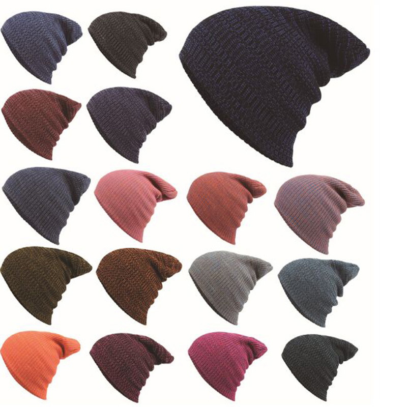 18 Color Winter Hats For Women Men Warm Acrylic Hat Crochet Slouchy Knit Baggy Oversized Ski Beanie Hat Female Skullies Beanies winter casual cotton knit hats for women men baggy beanie hat crochet slouchy oversized hot cap warm skullies toucas gorros y107