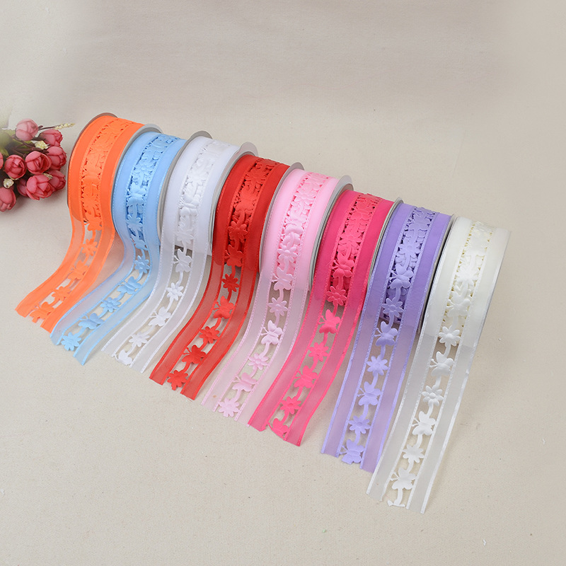 Solid Color Ribbon Webbing Colorful Butterfly Hollow Embossed Belt Clothing Polyester Webbing 3 8 20 Yards Accessories in Webbing from Home Garden