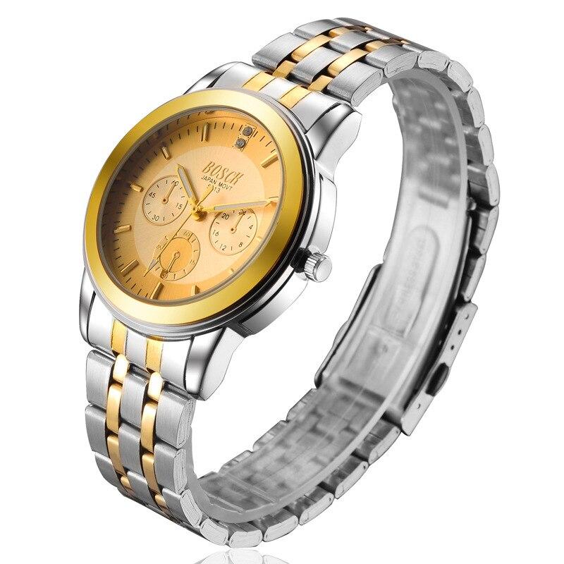 Lujo de negocios de cuarzo reloj hombres marca Acero inoxidable cronógrafo militar reloj