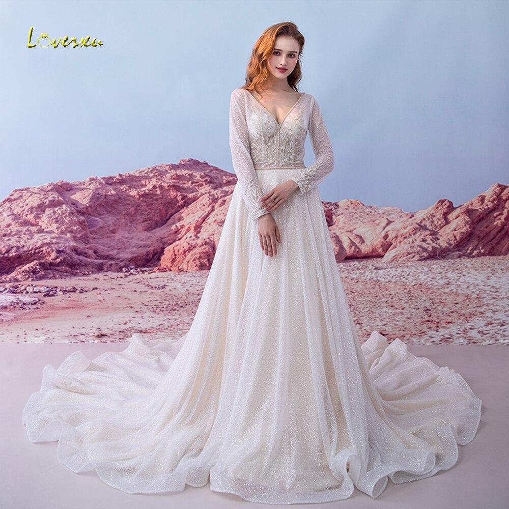 Loverxu Vestido De Noiva Long Sleeve Lace Wedding Dresses