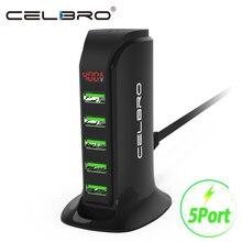 5 портов Мульти USB зарядное устройство концентратор светодиодный дисплей док-станция для зарядки с USB универсальный мобильный телефон Настольный настенный домашний зарядное устройство s EU US Plug