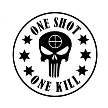 14*14cm Fashion ONE SHOT KILL Punisher Vinyl Skull Blood Car Stickers Window Decals Black /White for Audi A3 A4 A5 A6 Q3 Q5