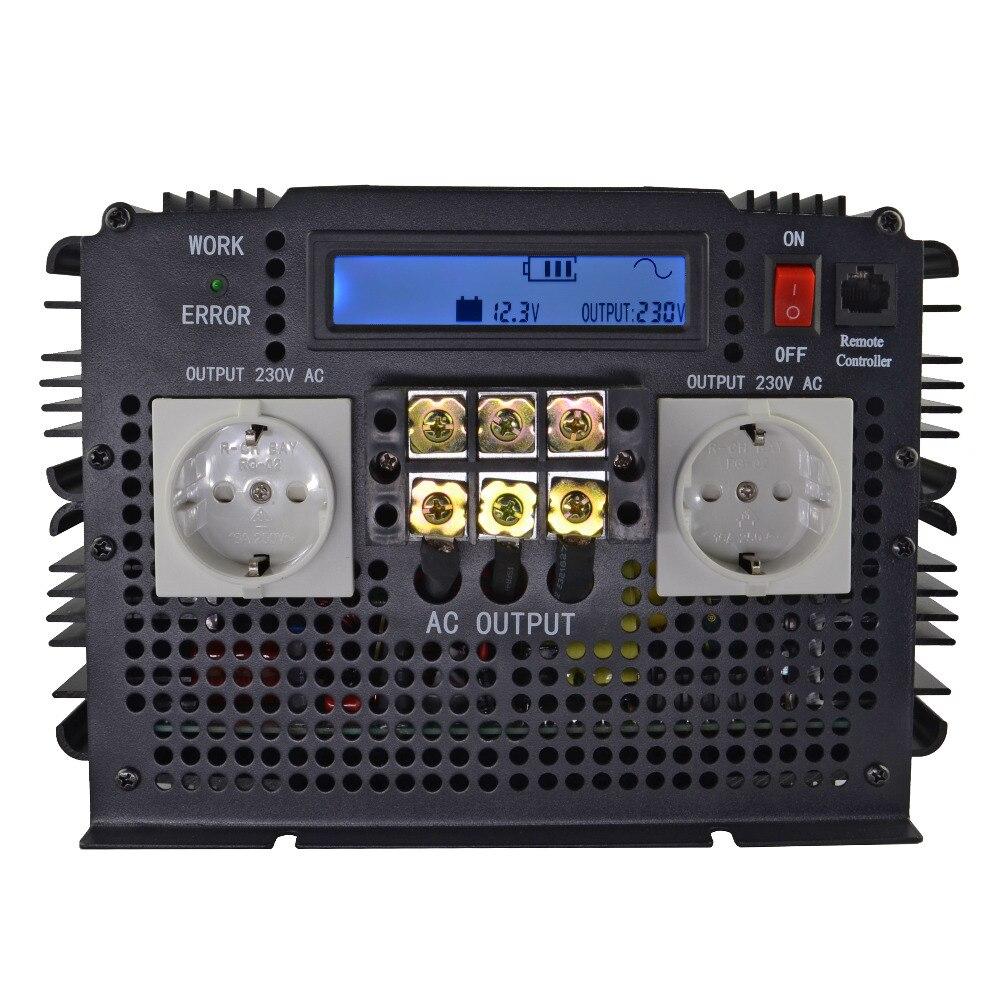 Más avanzada pantalla LCD 3500 W inversor de onda sinusoidal pura 12VDC a 220VAC (7000 W pico) DC a AC al aire libre inicio inversor de frecuencia