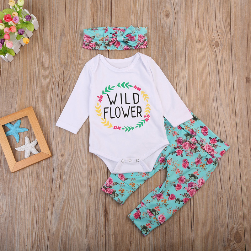 0d750973860 Baby Clothing Sets The flowers print Newborn Baby Girls Clothes Long Sleeve  Romper Jumpsuit Long Pants+scarf 3pc Tags