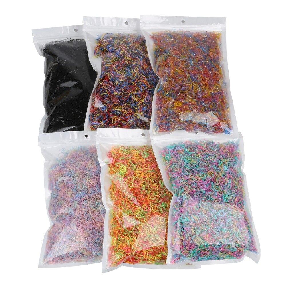 1000 pçs/lote moda aleatória cores misturadas pequeno círculo acessórios de cabelo para meninas natural forte elástico bandas de borracha