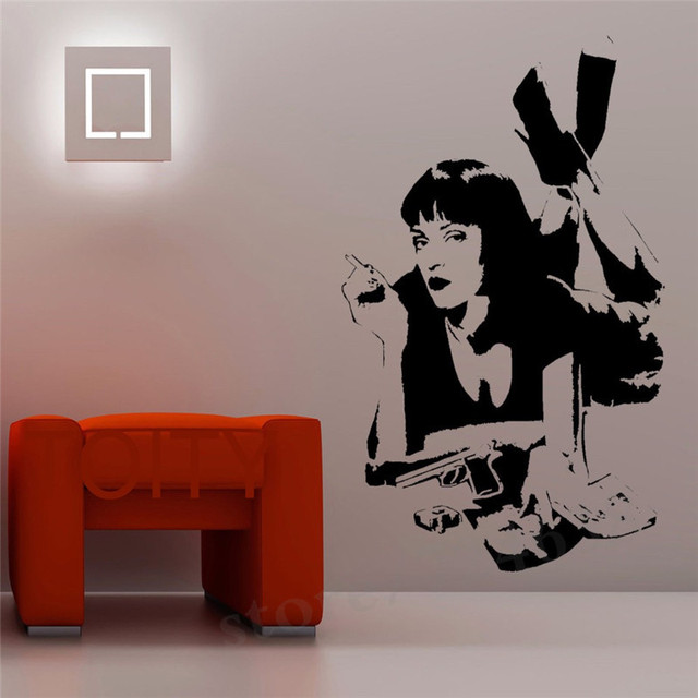 Adesivo de Parede Filme de Quentin Tarantino Pulp Fiction Mia Wallace Decalque Do Vinil Dormitório Bar Quarto de Adolescente Interior Home Decor Art Mural