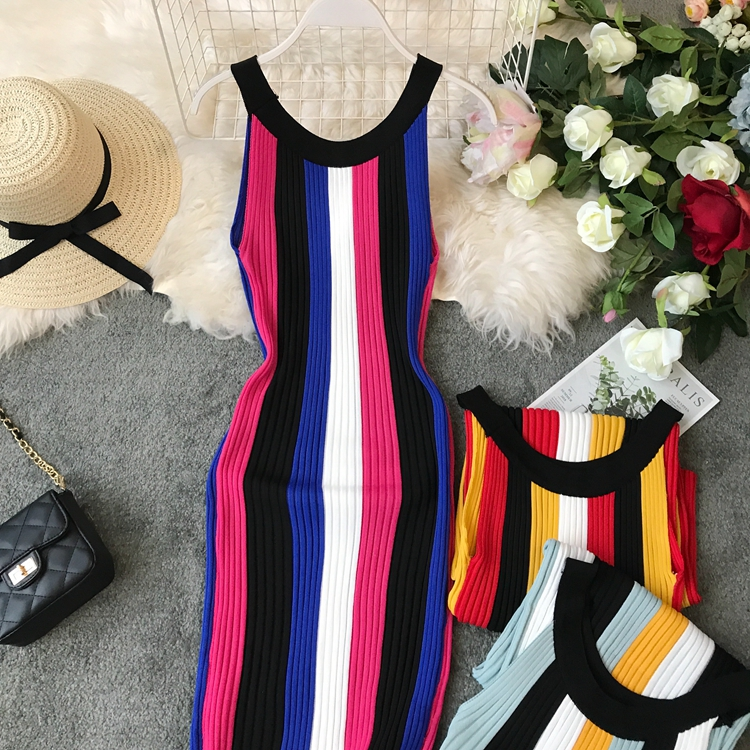 ALPHALMODA Summer 2019 New Round Neck Rainbow Vertical Striped Women Vintage Sexy Knit Dress Sleeveless Pullovers Ladies Vestido 22