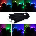 Novelty 7-mode LED Gloves Rave Light Finger Lighting Flashing Glowing Unisex Gloves - One Pair (Black)