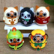 5pcs/set 5cm Hunting Magnetrophy Airou cat Tumbler hard PVC toy Japanese cartoon