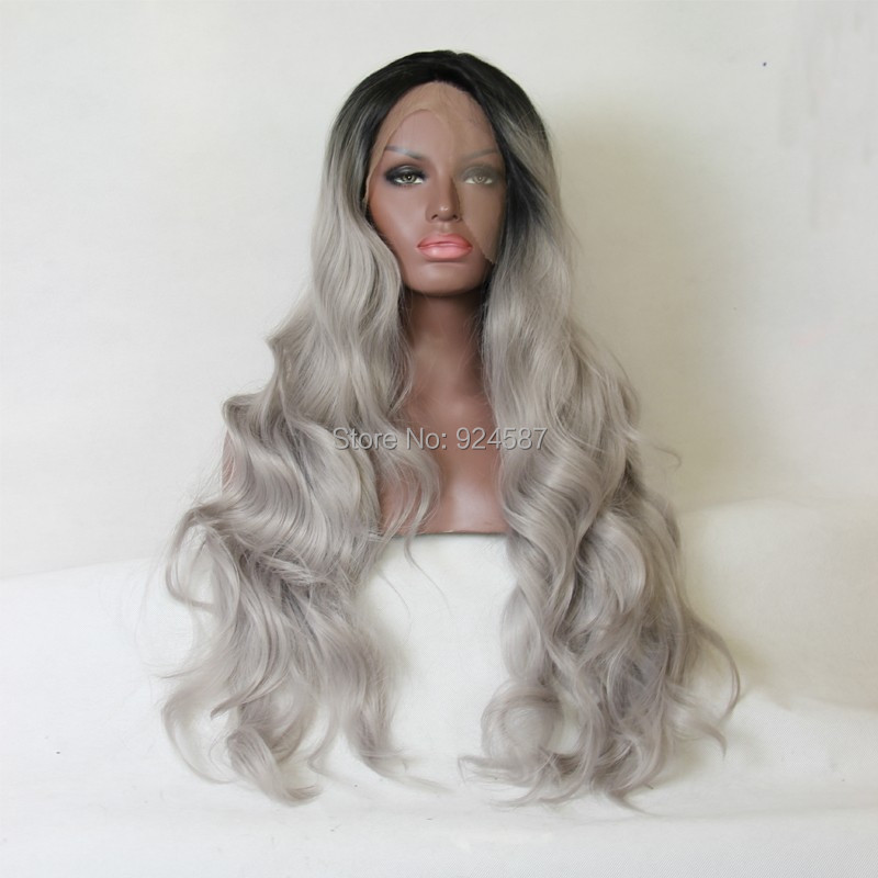 ФОТО Ombre Grey Bodywave Synthetic Lace Front Wig Glueless Natural Black/Gray Heat Resistant Hair Wigs/FREE SHIPPING 2017 IN STOCK