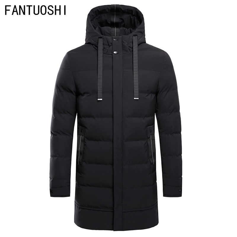e63bf3566 High Quality Parka Men Winter Long Jacket Men Hooded Thick Cotton-Padded  Jacket Mens Parka Coat Male Fashion Casual Coats 4XL