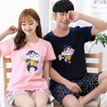 2017 summer short sleeves men and women couples pajamas cute thin section of cotton large size couple home service pajamas
