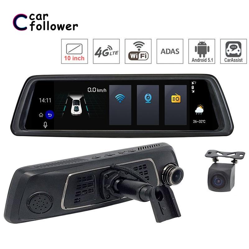 "10 ""4g Wifi Android 5.1 Auto Dvr Dash Cam Rückspiegel Dash Kamera Dual Objektiv Adas Gps Navigation Bluetooth Fahren Recorder"