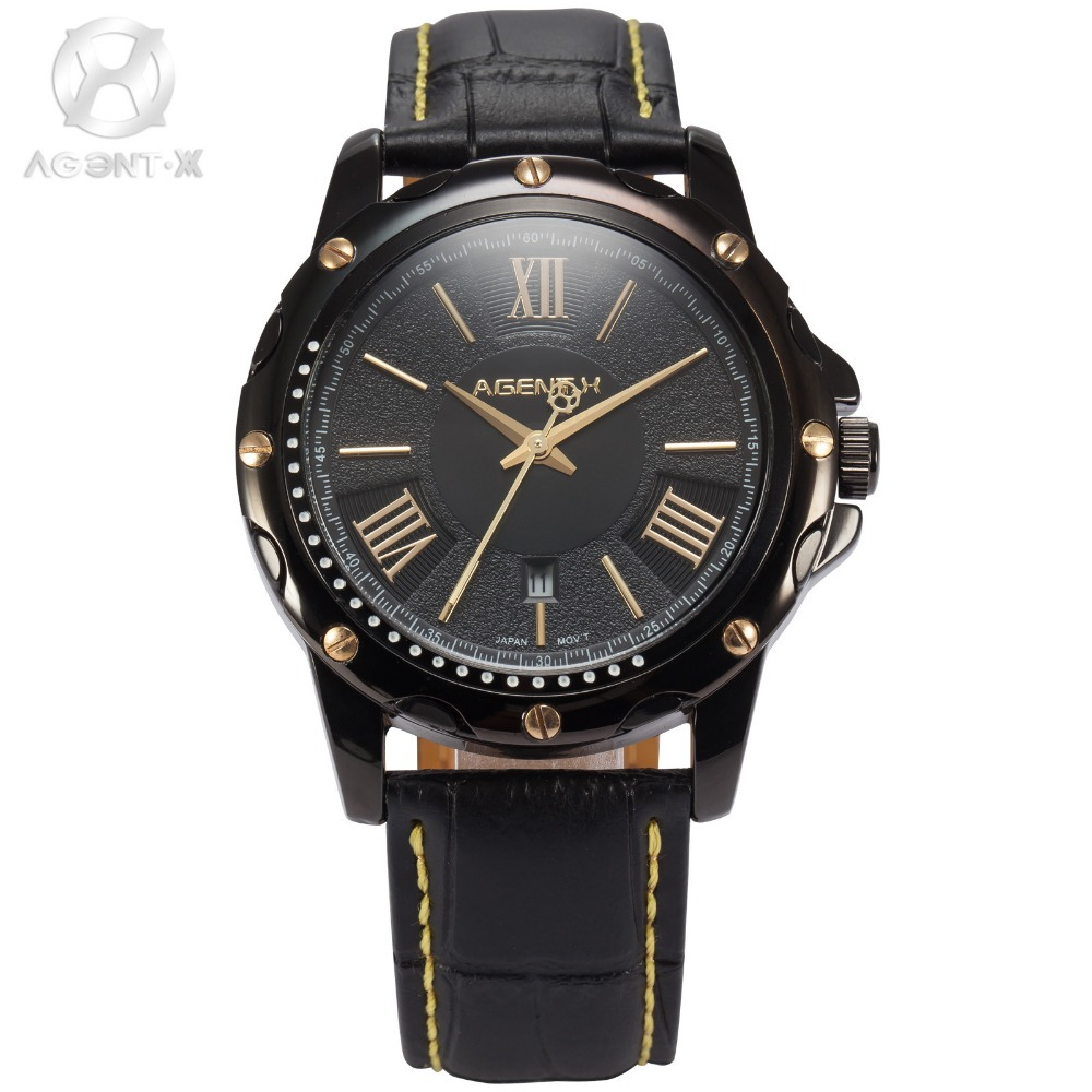 AGENTX Calendar Auto Date Display Relogio Gold Hands Roman Numbers Analog Leather Strap Quartz Clock Men Casual Watch / AGX115 agentx luxury brand calendar display casual relogio white dial analog black leather strap clock wrist men quartz watch agx116