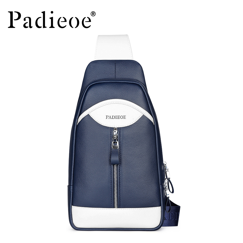Padieoe Men Chest Waist Pack Crossbody Bag Genuine Leather Brand Handbag New Fashion Shoulder Bags Casual Designer Messenger Bag