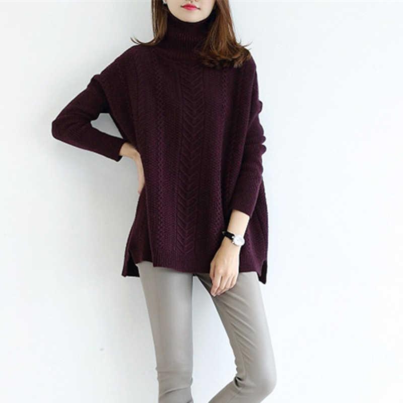 Musim dingin sweater wanita kerah tinggi rajutan kasmir sweater perempuan tebal sweater 2017 baru putar pola bottoming hangat pullover